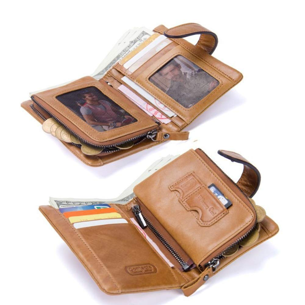 Color : Red, Size : S MUMUWU Mens Wallet Leather Short Wallet Activity Zip Coin Purse Stitching Clutch Card Bag