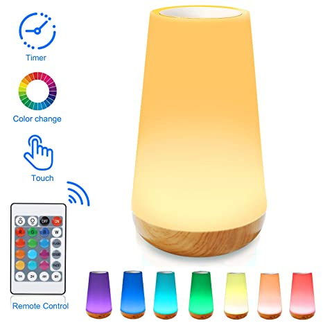 Luz Nocturna de LED, Lámpara de Mesita de Noche, Control Remoto, Control Tactil, Temporizador, Regulable, USB Recargable, Cambio de Colores, para ...