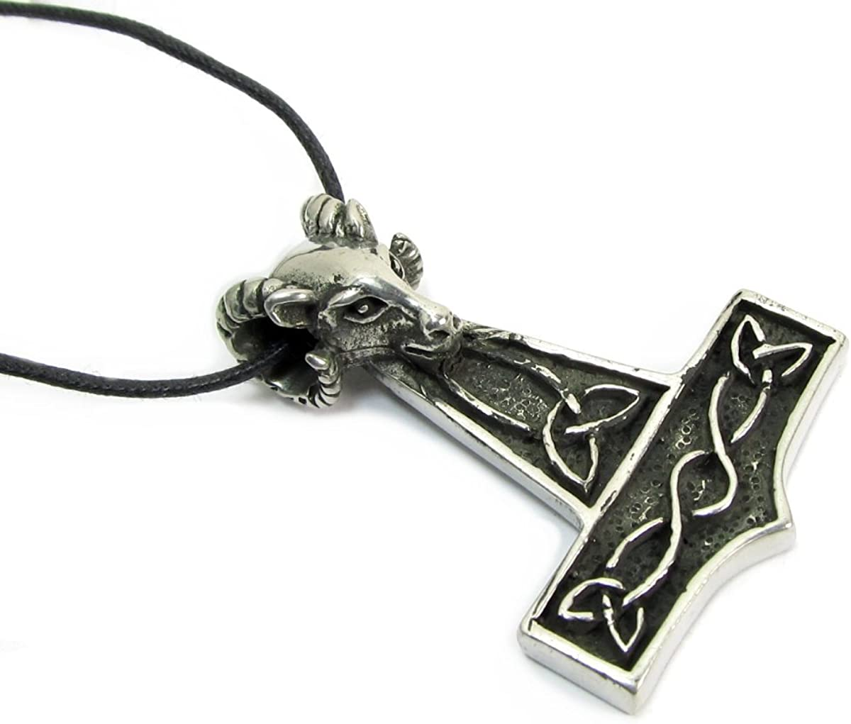 Viking Thors Hammer Pewter Pendant On A Waxed Cord