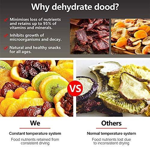 DéShydrateur D'Aliments En Acier Inoxydable à 6 Plateaux,RéGlage De La TempéRature 30~90 ℃, SéChoir à Fruits Avec Livre De Recettes Gratuit