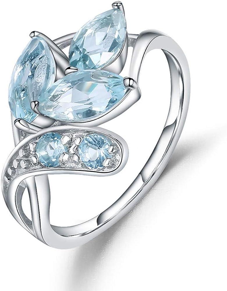 JZNNS Anillo Anillo Chispeante De Plata DePiedras Preciosas Azul Cielo para Joyería De Mujer