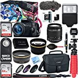 Canon EOS Rebel T6i Digital SLR Camera Video Creator Kit 18-55mm Zoom Lens, Rode Video Mic, 32GB + 64GB SDXC Memory Bundle + Pro Wide Angle Lens + 2x Telephoto Lens Converter +Extra Battery+DSLR Bag