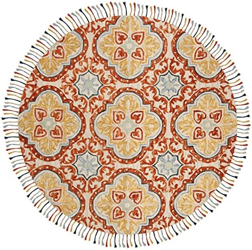 Safavieh Aspen Collection APN217A Beige and Rust Premium Wool Round Area Rug 7' Diameter