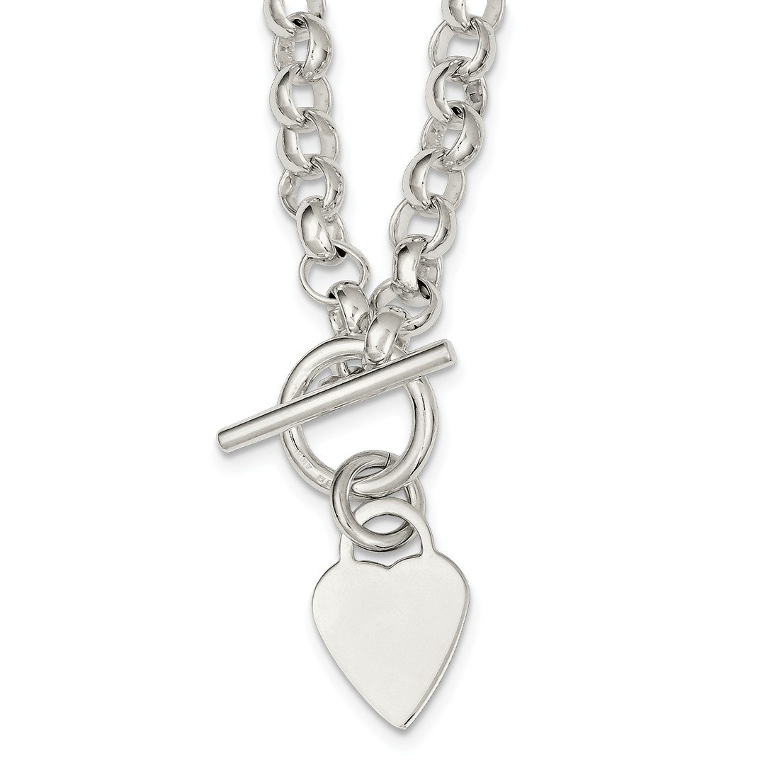ICE CARATS 925 Sterling Silver Engraveable Heart Disc On Link Toggle Chain Necklace S/love Engravable Fine Jewelry Gift Set For Women Heart