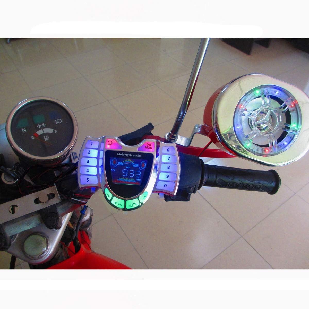 Semoic Motorcycle Stereo Speakers MP3 Player Waterproof FM Audio for Motor Scooter Bike ATV UTV