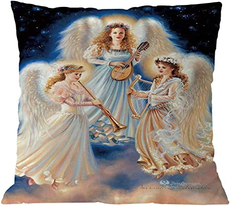 Amazon Com Fxbar Christmas Angel Singing Throw Pillow Case Happy Snowman Decor Cushion Cover F Home Kitchen