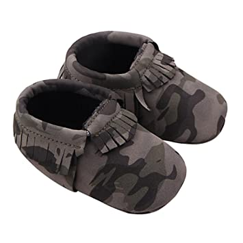 f164b1d2054b0 Sunward Baby Camouflage Tassel Soft Sole Anti-slip Leather Shoes Infant  Moccasin (11CM(Suggest 3-6...