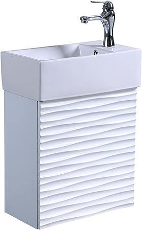 Blanc support mural Armoire de salle de bain Meuble lavabo ...