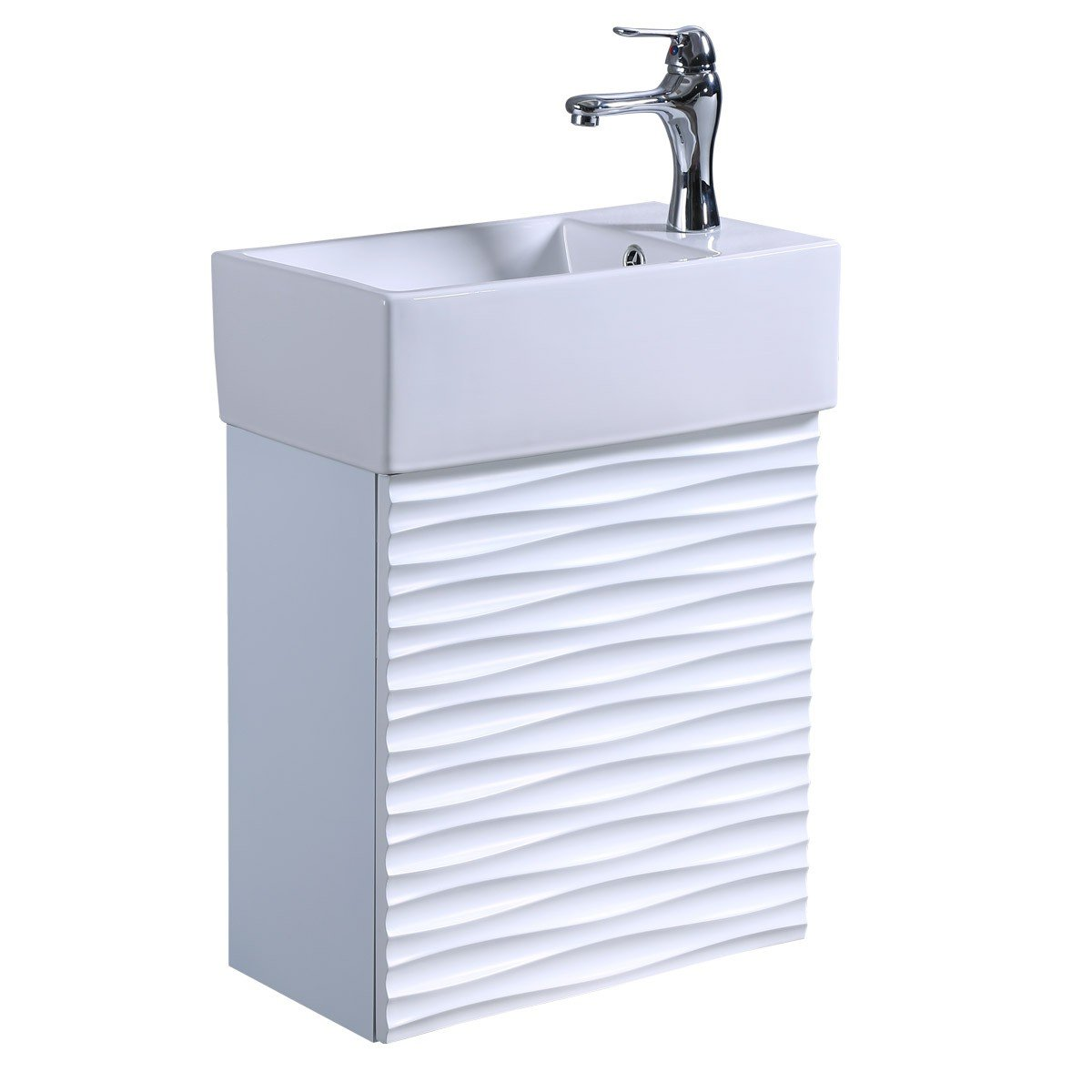 Wall Mount Bathroom Cabinet Vanity Sink White With Elegant Chrome Faucet And Drain Included Rippled Design