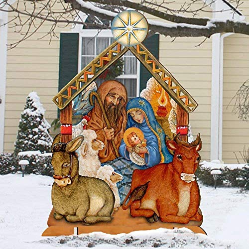 Outdoor Nativity Scene, Christmas Wooden Free-Standing Outdoor Decoration by G.DeBrekht -