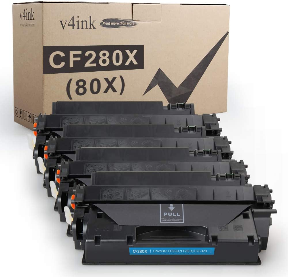 v4ink 4PK Compatible Toner Cartridge Replacement for HP 80X CF280X 80A CF280A Toner Ink High Yield for HP Laserjet Pro 400 M401 M401a M401d M401dn M401dne M401dw M401n MFP M425dn M425dw Printer