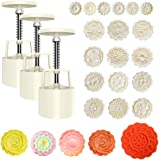 21 Pieces Bath Bomb Press, Mooncake Shape Mold Kit Includes 3 Pieces Bath Bomb Press with 18 Pieces Stamps for Soap Making