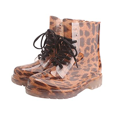 Women Clear Low Ankle Jelly Rain Boots Mid height Mid Calf Snow Rainboot