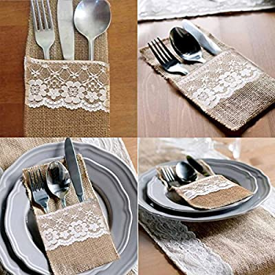 vLoveLife 4x8.5 Inch Natural Hessian Burlap Cutlery Holder Pouch Bag with Lace Rose Flower Wedding Tableware Bags Favor
