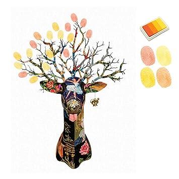 Amazon De Landum Weihnachten Dekoration Diy Elk Tree Fingerabdruck