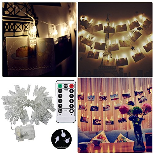 40 LED Photo Hanging Clips String Light, JulyFire 15 Ft Remote Control Battery Operated Dimmable Photo Display Starry Lamp with 8 Modes, for Hang Pictures Cards Notes, with 3 Wall Nails, Warm White