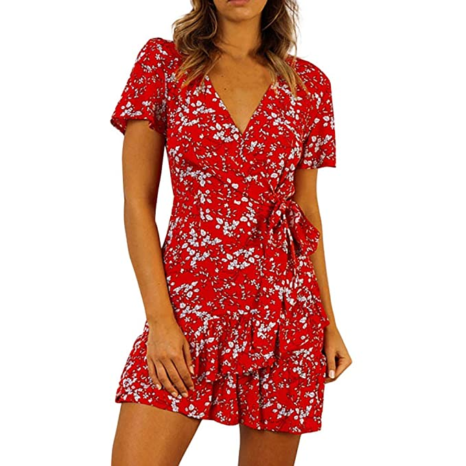 43c7b492773 PENATE Womens Casual Lace Up V-Neck Printed Floral Short Sleeve Ruffles Mini  Dress Red