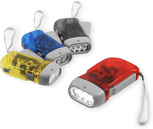 (Chromo Inc) 4 Pack Hand Crank Flashlight