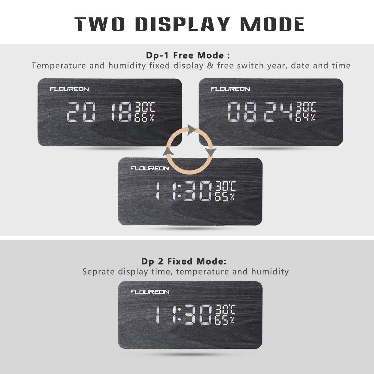 FLOUREON Digitale Wecker, Funk Wecker, LED Display Holzuhr mit 2 Stromversorgungsmodi, 3 Helligkeit, Datum Uhrzeit, Temperatur und Luftfeuchtigkeit (Schwarz)