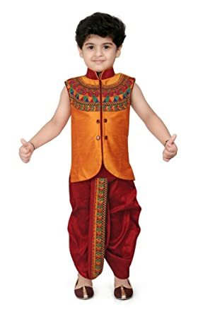 732491903 Kute Kids Boy s Cotton Silk Ethnic Dhoti Kurta Set (Maroon