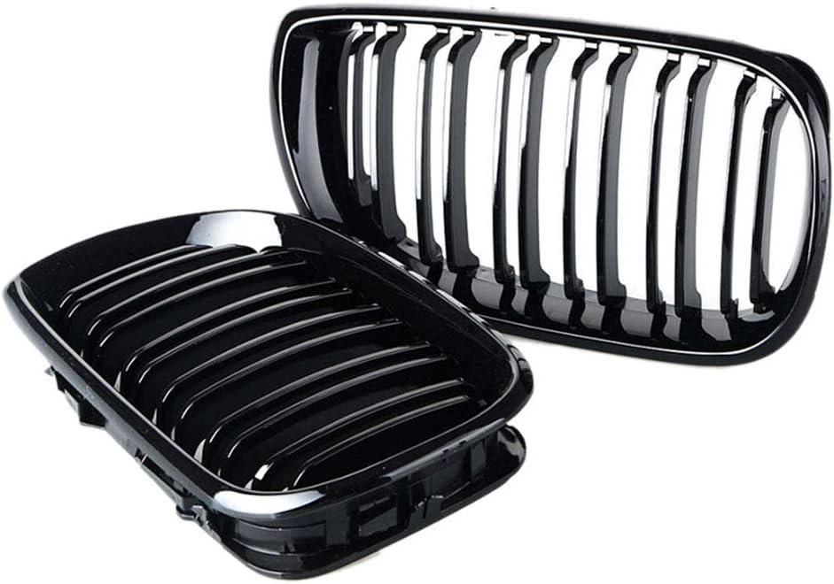 Voiture Brillant Noir Avant Rein Double Grille Grill Adapt/é pour B-M-W E46 4 Porte 4D 3 S/érie 2002 2003 2004 2005 ZQQFR 2 Pcs Grilles De Calandre Avant