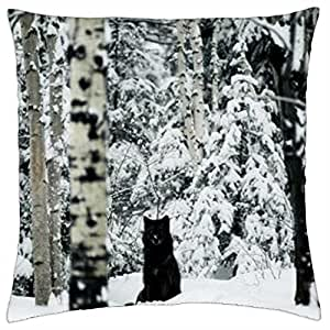 Black Wolf - Throw Pillow Cover Case (18