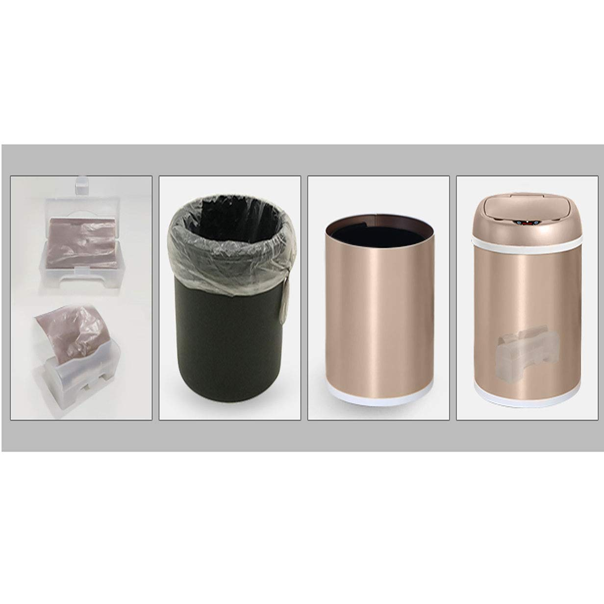 YN YN YN Papelera Inducción automática Smart Trash Home Bathroom Waste Container Toilet Waste Basket Living Room Basura Basurero con Tapa Dormitorio Waste Container Blanco (Color : Blanco, tamaño : 13L) 2d431e