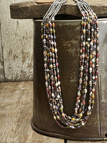Paper Bead Multi Strand Elements Necklace - Earth - Fair Trade BeadforLife Jewelry from Africa