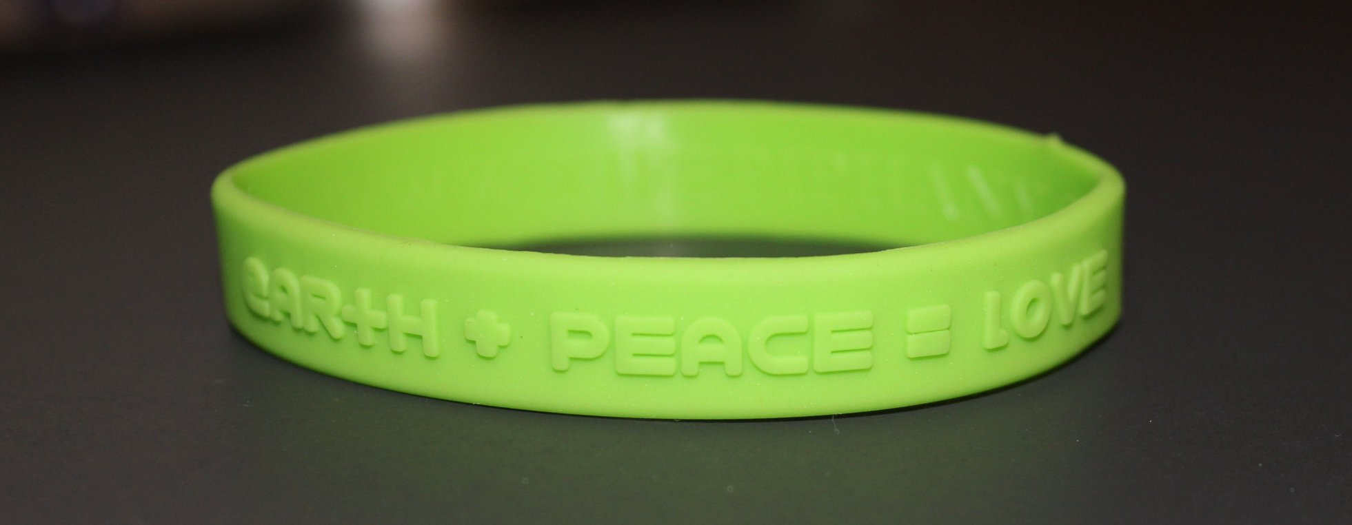 1 ''Green'' Silicon Wristband ''earth+peace=love'' for kids, teens, unisex by tifepiphany (Image #1)