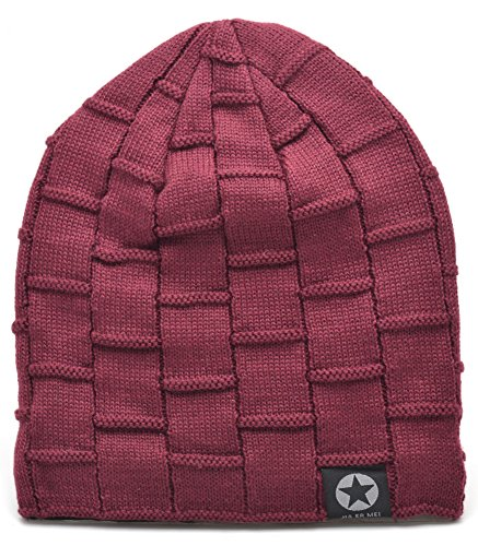 Mens Winter Warm Wool Fleece Lined Knit Beanie Hat Baggy Oversize Slouchy Stocking Skull Cap Ski Hat For Men, 6 Color, Stylish and Soft Beanie (Wine Red) by EASTER BARTHE (Image #2)