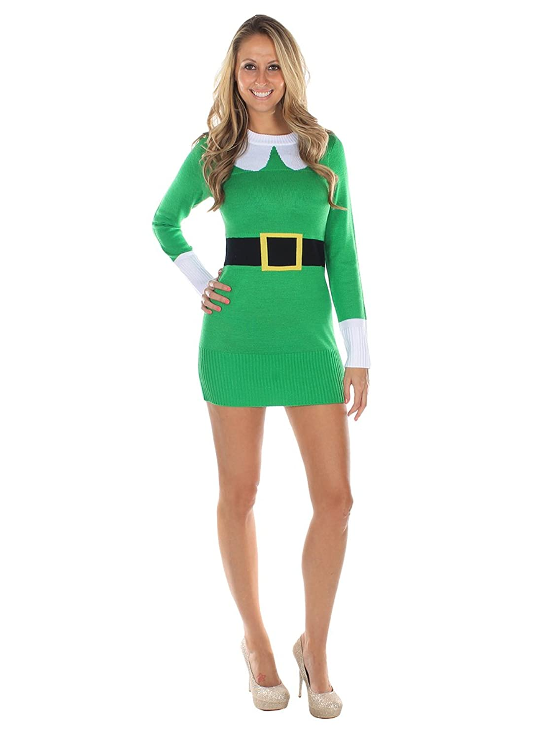 Women's Ugly Christmas Sweater - Green Elf Sweater Dress at Amazon ...