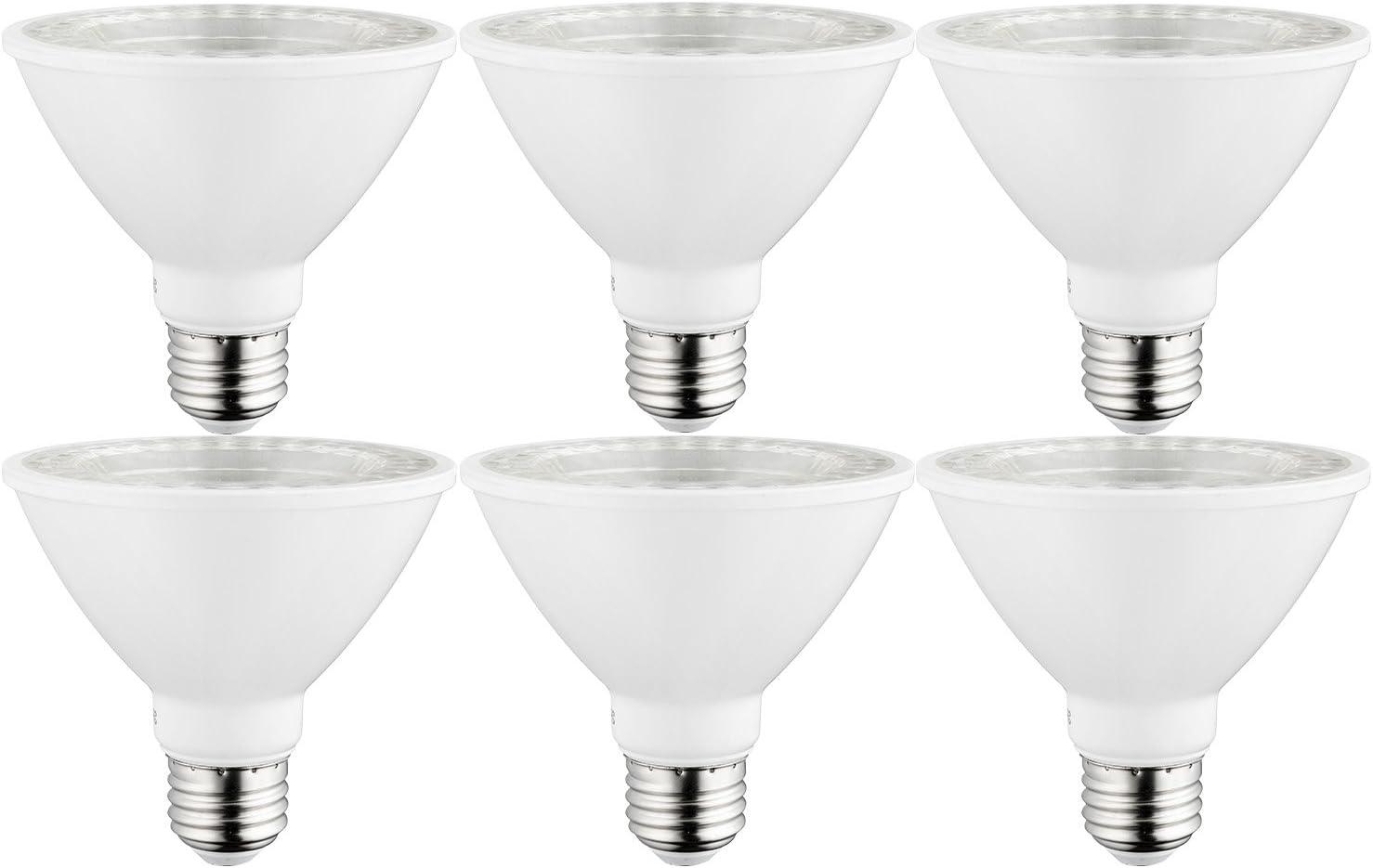 Sunlite 40982-SU LED PAR30 Short Neck Light Bulb, Dimmable, Energy Star 10 Watt, (75W Equivalent), Medium Screw (E26) Base, 6 Pack, 50K - Super White