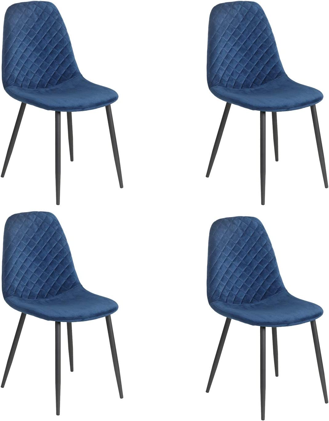 JYMTOM Dining Chairs Set of 2 4 Velvet Fabric Seat with Metal Legs Backrest Office Lounge Chair Home Furniture,grey 2PC