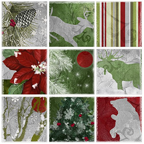 The Stupell Home Décor Collection Silver Red Gold Nature Christmas 9 Pc Wall Art Set, 9 Piece
