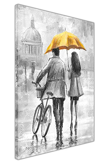 Couple holding yellow umbrella black and white framed canvas wall pictures home decoration art prints size