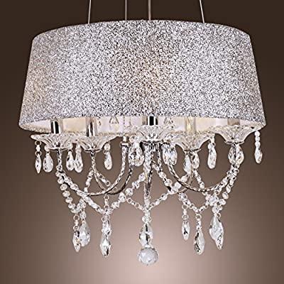LightInTheBox Modern Drum Dazzling 5 Lights Chandelier With Crystal Ceiling Pendant Lamp Fixture for Bedroom Living Room