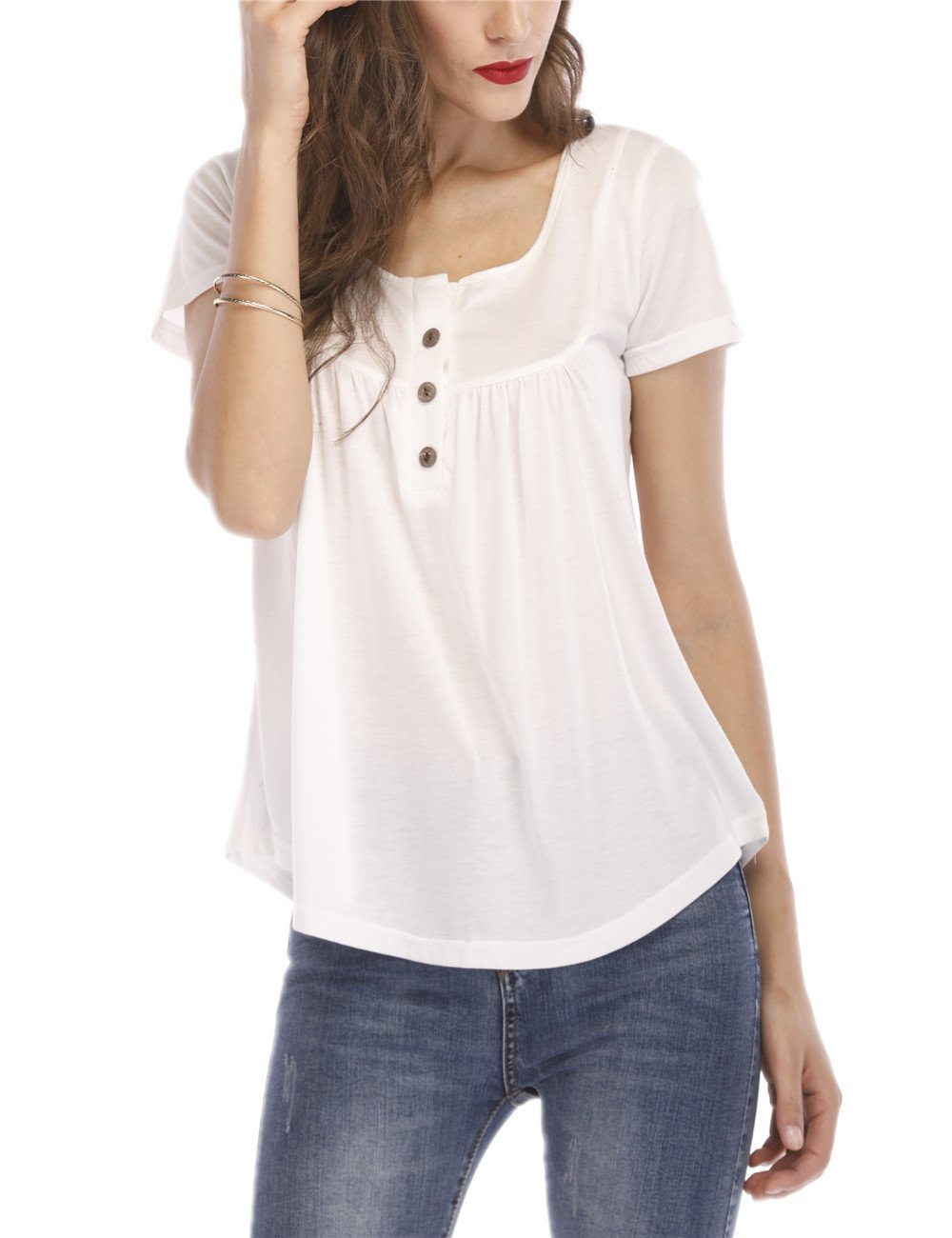 Ladyzone Womens Ruffle Button up Short Sleeve T-Shirt Solid V-Neck Casual Blouse Tunic Tops Solid Color Fit Flare (Small, White 2)