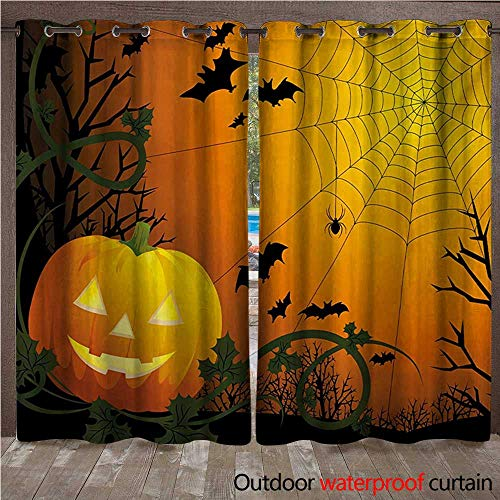 WilliamsDecor Spider Web Outdoor Balcony Privacy Curtain Halloween Themed Composition with Pumpkin Leaves Trees Web and Bats W72 x L84(183cm x 214cm)