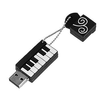LoveOlvidoE Teclado de Piano de Dibujos Animados Stick USB Instrumentos Musicales Modelo Flash Drive 8GB 16GB 32GB 64GB Creative Pen Drive con Llavero: ...