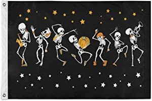 N\ A Dancing and Musical Skeletons Flag 4x6 Outdoor, 4' x 6' Decorative Cloth Flags with Brass Grommets for Outside Yard House Home Garden Patio Party Indoor Banner Decor Large,Polyester