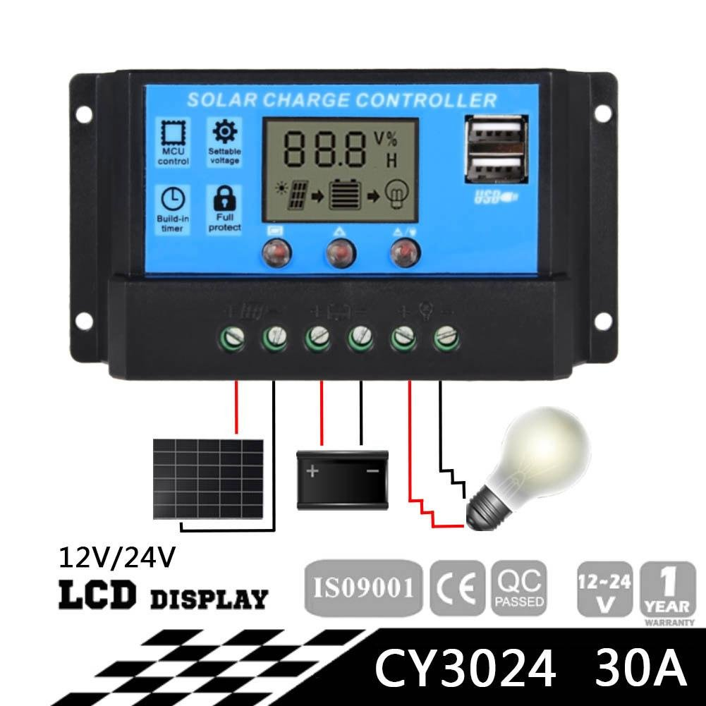 Sun YOBA Solar Charge Controller Solar Panel Controller 30A 12V 24V With Double USB Ports-US Stock by Sun YOBA (Image #1)