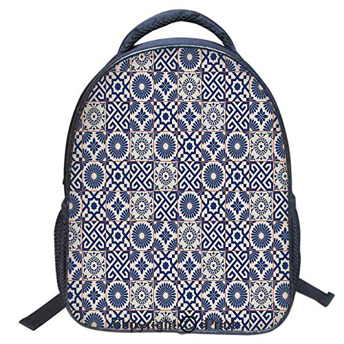 (Designer Original Art Print Casual Backpack,Travel Backpack 16Inch Laptop Bag,16 inch,Old Ottoman Style Inspired Mix of Moroccan Tiles in Modern Shades Artwork Print)