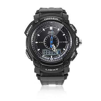 Jingjing Reloj Deportivo De Hombre Negro Impermeable, con Pantalla Digital LCD, Alarma De Día, Deportes Deportivos, Reloj De Goma: Amazon.es: Deportes y ...