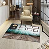 Clock Bath Mat for tub A Vintage Clock and Empty Picture Frames in an Old Room Wooden Backdrop Print Door Mat Increase 30''x48'' Green and Brown