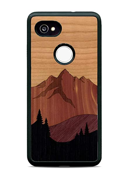 huge discount e5352 8aeae Carved | Google Pixel 2 XL | Luxury Protective Traveler Case | Unique Real  Wooden Phone Cover | Rubber Bumper | Mount Bierstadt Inlay