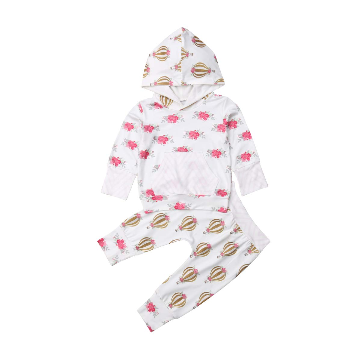 Newborn Baby Boys Girls Floral Hoodie Top Long Pants 2Pcs Outfits Clothes Set