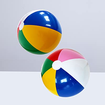 YeahiBaby 2Pcs Rainbow Inflatable Beach Balls for Beach Swimming Pool Parties Toys: Toys & Games