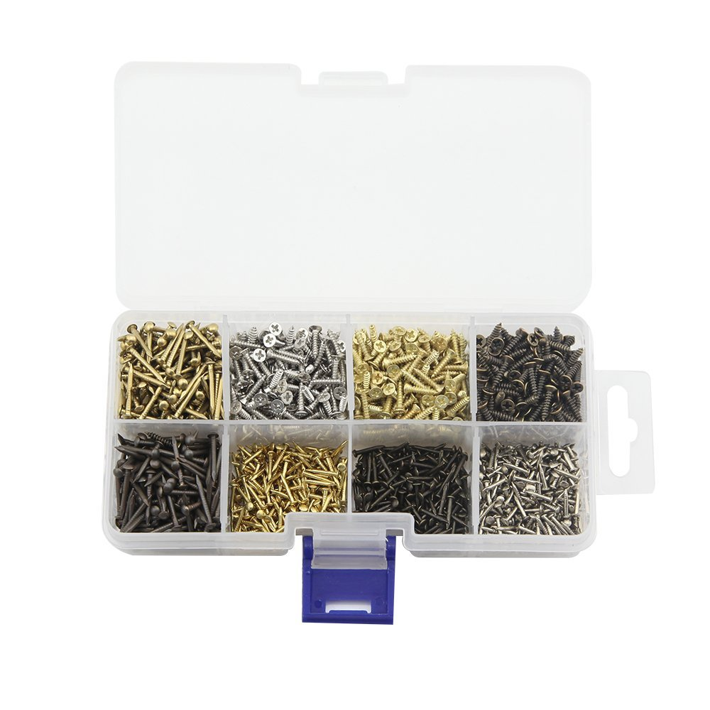 8 Different Types of Small Wooden Nails and Self Tapping Screws Combination Toolbox Copper Nail Iron Nail Screws 1600pcs