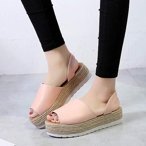 5565b00d7f3 Amazon.com  JJLIKER Women Chunky Platform Flat Sandals Peep Toe Slip On  Shoes Summer Espadrille Non-Slip Slippers  Clothing