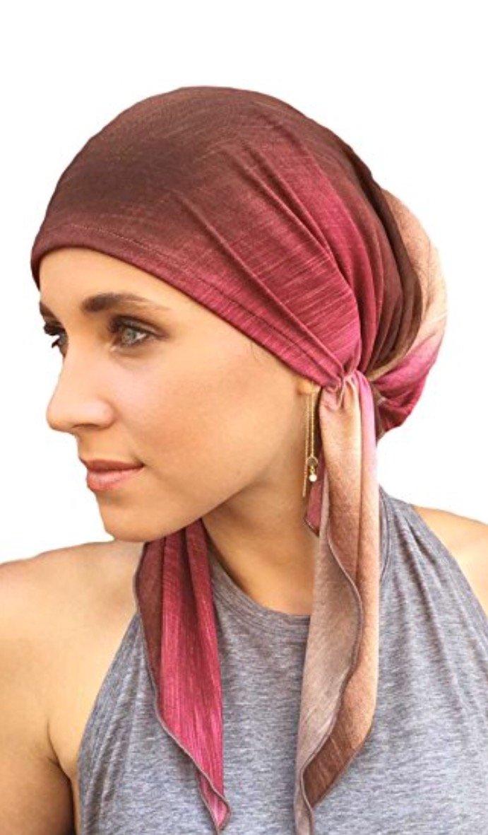 PREMIUM Headscarf Pre-Tied Fitted Women's Turban Headwear (Cocoa Raspberry Tie-Dye)